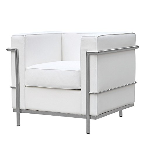 Reproduction Corbusier Le (Mid Century Modern Classic Le Corbusier LC-2 Style Replica Cube Sofa Chair (1 Seater) With Premium White Genuine Leather and Encasing Stainless Steel Frame)
