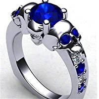 Meenanoom 925 Silver blue Ring Cubic Skull For Women Girls Christmas Party Jewelry Sz 6-10 (7)