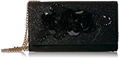 Wallet with chain and 3D flower applique