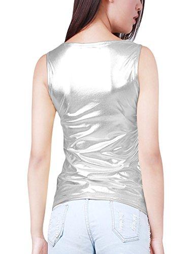 Fit Argent K Slim Top U Stretchy Allegra Woman Neck Tank Metallic YZOx71Zwnq
