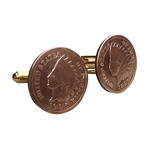One Cent Coin Cufflinks - Ammo Gift Box Indian Head One Cent Coin Cufflinks