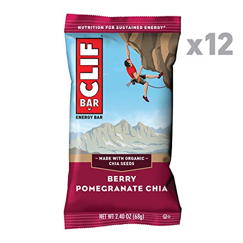 CLIF BAR - Energy Bars - Berry Pomegranate Chia - (2.4 Ounce Protein Bars, 12 Count)