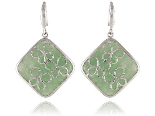 Butterfly Countour Earrings with Light Green Jade Backdrop, 925 Sterling Silver - Jadeite Earrings