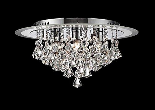 Saint Mossi Modern K9 Crystal Raindrop Chandelier Lighting Flush mount LED Ceiling Light Fixture Pendant Lamp for Dining Room Bathroom Bedroom Livingroom 6 G9 Bulbs Required H9