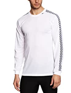 Helly Hansen Men's Lifa Stripe Crew Lightweight Breathable Moisture Wicking Thermal Baselayer, 001 White, X-Small