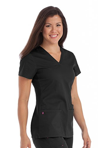 Med Couture Women's 'MC2' Everyday Scrub Top, Black, Medium