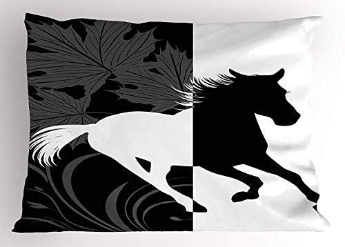K0k2t0 Horse Decor Pillow Sham, Silhouette of Mustang in Monochrome Abstract Framework Maple Leaves Sprigs, Decorative Standard Queen Size Printed Pillowcase, 30 X 20 inches, Black and White ()