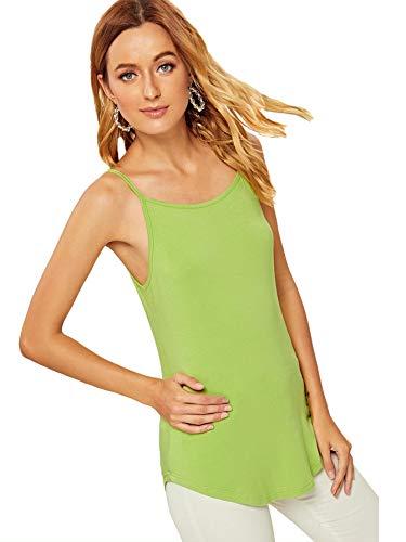 Verdusa Women's High Low Hem Solid Fitted Cami Top Grass Green XS