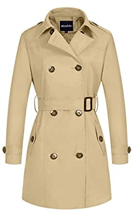 Wantdo Women's Double-Breasted Trench Coat with Belt Khaki Small