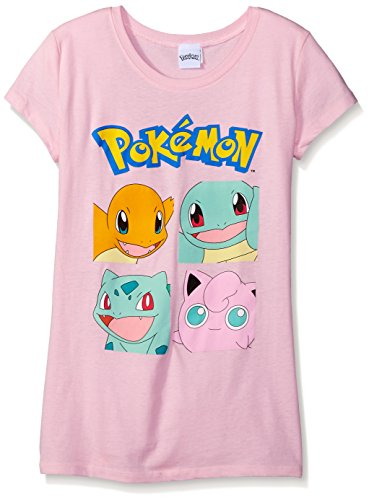 Pokemon Big Girls Pokemon Character Group Short Sleeve Tee, Light Pink, Medium/8-10