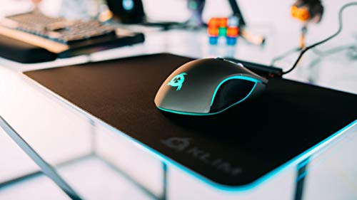 KLIM RGB Gaming Mouse Pad - Large LED USB Black Hard Surface Gamer Mousepad - Chroma Lighting Effects - LED Lights Up - 13.7 x 10.3 x 0.4 inches - Ergonomic [ New 2020 Version ]