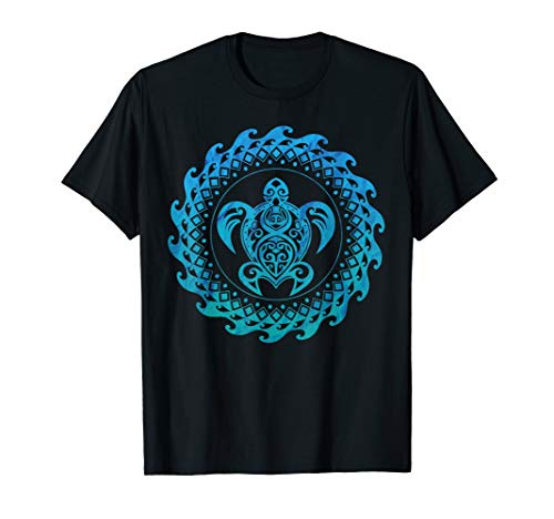(Sea Turtle Hawaii Ocean Blue Tribal Hawaiian Gift T-Shirt)