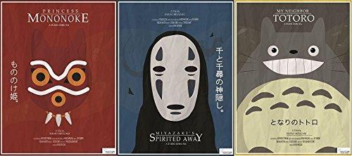 Wizbit Art and Design Studio Ghibli Totoro, Mononoke, Spirited Away Poster Art Print set - 3 x 16''x12'' (1 x Spirited Away) by Wizbit Art and Design