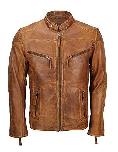 Mens Vintage Smart Fitted Biker Cafe Racer Casual Leather Tan Brown Jacket Coat