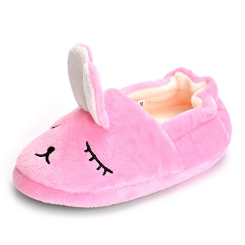 Baby Bunny Slippers - Estamico Toddler Girls' Bunny Slipper Cartoon Rabbit Warm Winter House Shoes, Pink, US 5-6 M