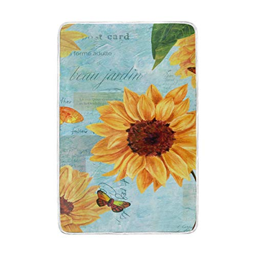 Throw Blankets Vintage Style Greeting Card With Hand Painted Watercolor Sunflowers Butterflies On Teal Toned Sc Soft Warm Lightweight Polyester Microfiber Blanket for Bed Couch Chair Sofa Travelling C