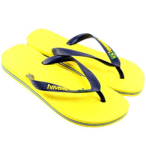 Womens Havaianas Logo Slip On Flip Flops Summer Beach Sandals New Citrus Yellow YSIvWU2bp