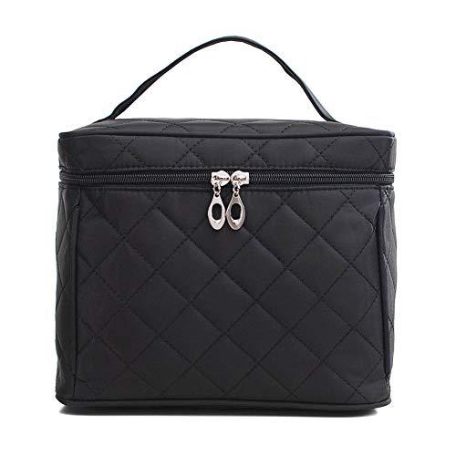 HaloVa Comestic Bag, Travel Toiletry Bag, Large Cosmetic Train Case, Makeup Bag, Makeup Organizer, Artist Storage Bag, Black
