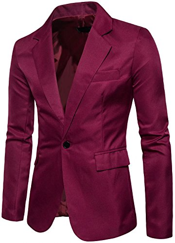 Men's Long Sleeves Peak Lapel Collar One Button Slim Fit Sport Coat Blazer, Wine Red, M/40 = Tag 2XL