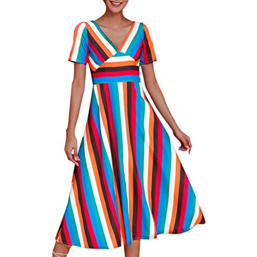 Women Long Striped Dress Cotton Linen Casual Loose Short Sleeve V Neck Summer Beach Party Sundress Daorokanduhp Blue