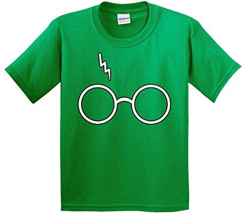 Way Juniors T-shirt - New Way 836 - Youth T-Shirt Harry Potter Glasses Scar Lightning Bolt Medium Kelly Green