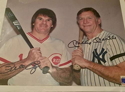 Mickey Mantle And Pete Rose Autographed Signed 8x10 MLB Photo Memorabilia PSA/DNA Letter