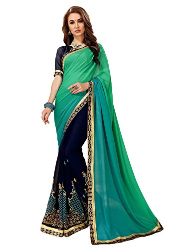 Viva N Diva Sarees for Women's Embroidery Work Teal & Navy Blue Heavy Dyed Georgette Saree with Un-Stiched Blouse Piece,Party ()