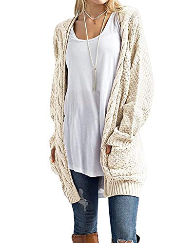 Off Sweater White Cardigan (CNFIO Women Open Front Loose Outwear Knit Long Sleeve Sweater Pockets Cardigan Off White L)