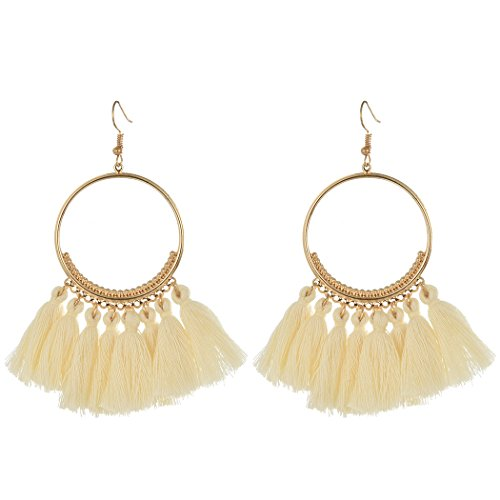 Idealway Fashion Gold Plated Semilune Colorful Thread Tassel Cute - Plated Gold Tassel