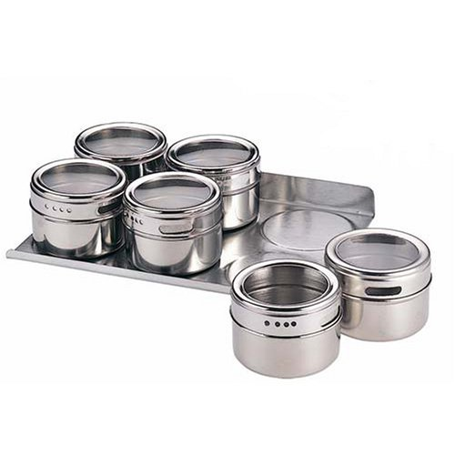 Stainless Steel Magnetic Spice Jar Set of 6 with Rack