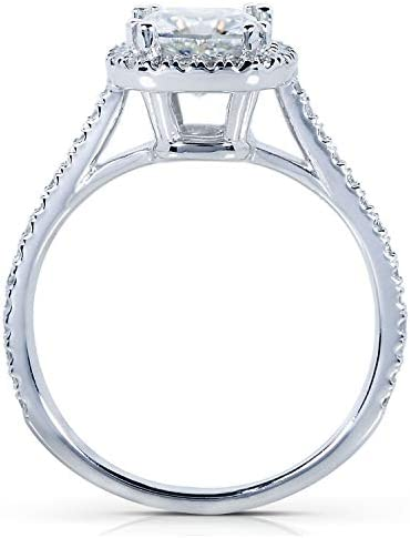Kobelli Moissanite and Lab Grown Diamond Halo Engagement Ring 1 1/3 CTW 14k White Gold (HI/VS, DEF/VS)