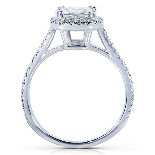 Kobelli Forever One Moissanite and Lab Grown Diamond Halo Engagement Ring 1 1/3 CTW in Platinum (DEF/VS), 8.5