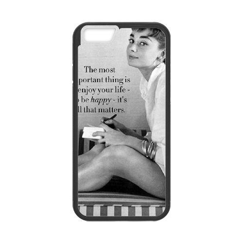Audrey Hepburn coque iPhone 6 4.7 Inch Housse téléphone Noir de couverture de cas coque EBDOBCKCO13442