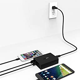 Quick Charge 3.0 AUKEY 6-Port USB Charger for Samsung Galaxy S8/S7/Edge, iPhone 7/7 Plus, iPad Pro/Air 2, LG G5 and More