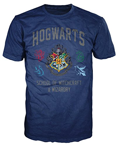 HARRY POTTER Hogwarts Crest Witchcraft and Wizardry Men's Adult Graphic Tee T-Shirt (Navy Blue, Large)]()