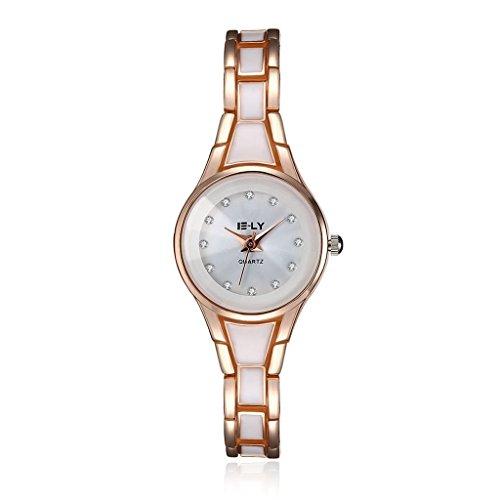 14k Link Rose Bracelet Gold - Focus Jewel Womens Fashionable Rose Gold Wrist Watch Alloy Link Chain Bracelet Analog Dial Snap-on Clasp