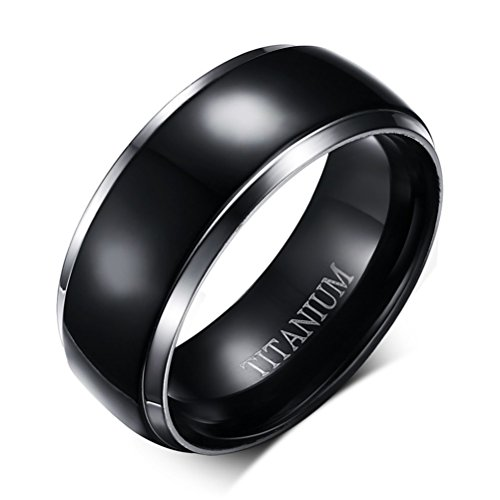Mens Womens 8mm Black Titanium Stainless Steel Ring Vintage Wedding Jewelry Engagement Band for His and Her Silver Edges ()