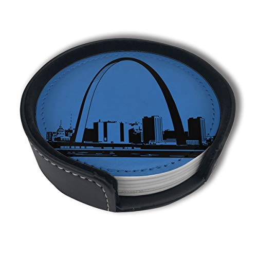 HBLSHISHUAIGE St-Louis-Skyline-Clipart-1 Coasters with Holder Set,Round Mugs and Cups Mat Pad for Drinks,Suitable for Home and Kitchen(6PCS)