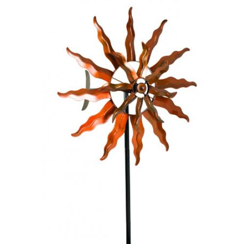 Extra Large Metal Wind Spinner Garden Stake, 75-inch, Copper Finish, Outdoor