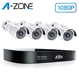 A-ZONE Security Camera System Outdoor, 8CH 5MP-Lite DVR AHD Surveillance System, 4 Outdoor/Indoor 3.6mm Fixed Lens 2.0…