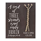 LifeSong Milestones A Cord of Three Strands Wedding Sign for him her Girlfriend Boyfriend Bride Groom Mr and Mrs Husband Wife Couple Lover (Walnut B)