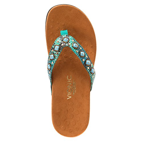 Post Toe Teal Floriana Vionic Womens Snake Sandals PzxqtB7wt