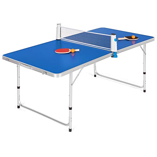 Best Choice Products 58in Portable Folding Ping Pong Table Tennis Game Set w/ 2 Balls, 2 Paddles, Net - Blue