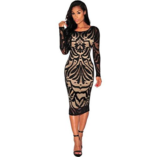 Women Dress,Kaifongfu Sexy Bodycon Bandage Evening Cocktail Party Long Sleeve Lace Dress (M, Black)