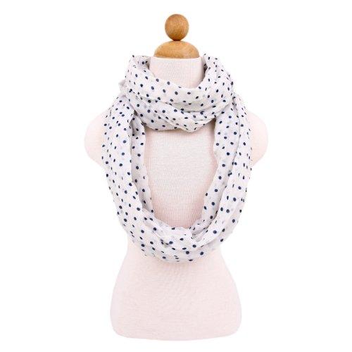 Premium Polka Dot Infinity Loop Fashion Scarf, Small Dot White]()