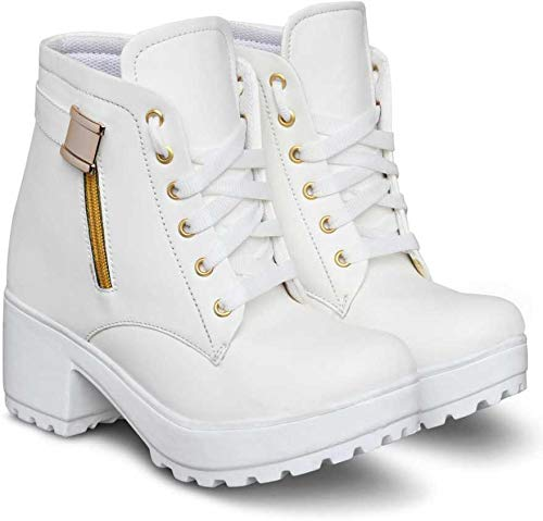 KRAFTER Zipper Synthetic Leather Casual Sneakers Boots for Women and Girls Boots Boots for Women