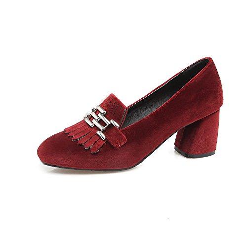 Peu Bouche amp;S MEI Bloc Profond nbsp;Femmes Chaussures LSM carré Talons Tête Red U1zwWqY