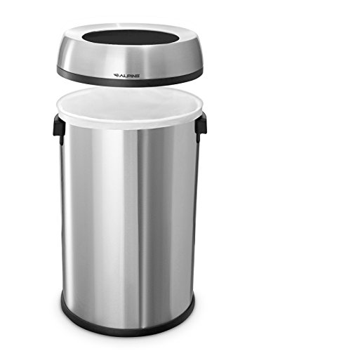 Alpine Industries Stainless Steel Open Top Trash Can, 17 Gallon, Silver
