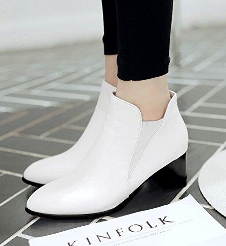 ... Chfso Kvinners Sexy Vanntett Fuskepels Foret Elastiske Spisse Tå Midten  Blokk Hæl Vinter Chelsea Boots White