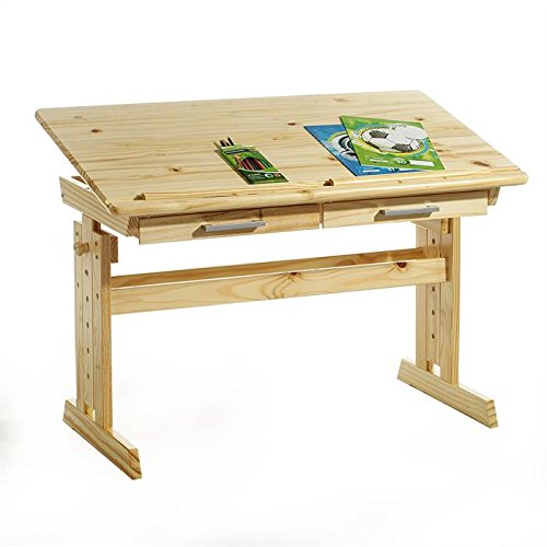 IDIMEX Bureau Enfant écolier Junior Olivia Table à Dessin réglable en Hauteur pupitre inclinable 2 tiroirs en pin Massif Vernis Naturel